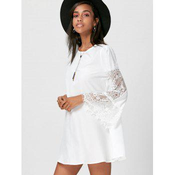 Lace Insert Flare Sleeve Swing Dress - WHITE M