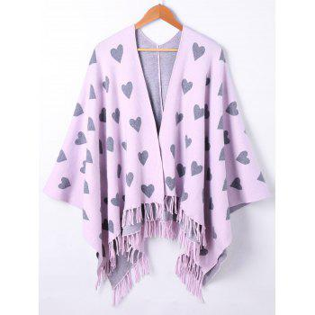 Heart Fringe Graphic Knit Cape - PINKISH PURPLE ONE SIZE