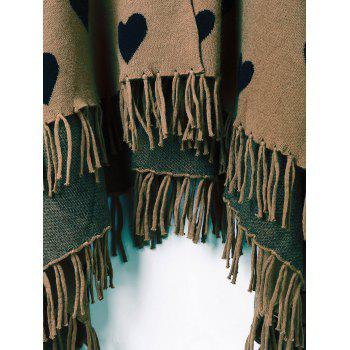 Heart Fringe Graphic Knit Cape - ONE SIZE ONE SIZE
