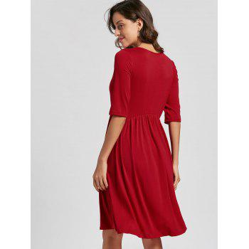 Casual Half Sleeve Swing Dress - RED M