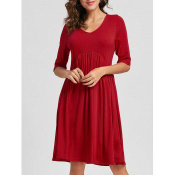 Casual Half Sleeve Swing Dress - RED RED