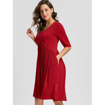 Casual Half Sleeve Swing Dress - RED XL