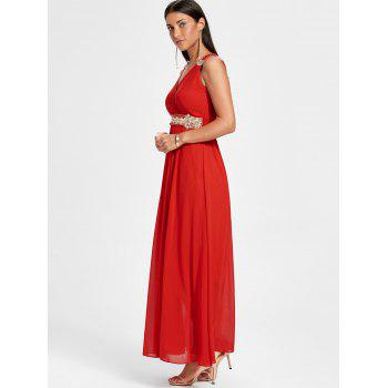 Ruched Rhinestone Maxi Party Dress - RED RED