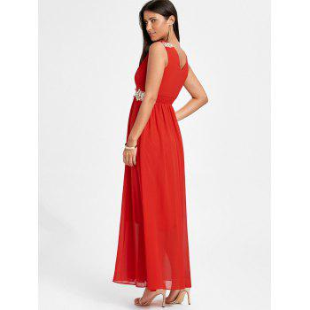 Ruched Rhinestone Maxi Party Dress - Rouge L