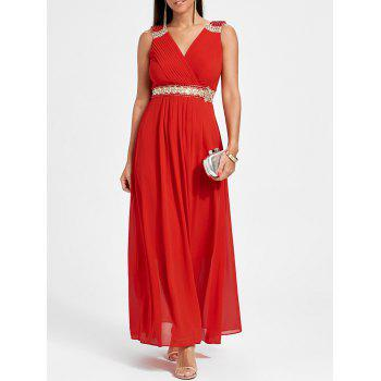 Ruched Rhinestone Maxi Party Dress - RED L