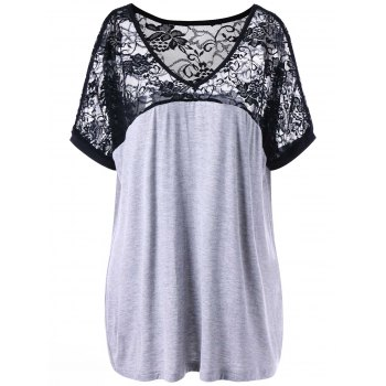 Plus Size Lace Yoke V Neck T-shirt - BLACK AND GREY BLACK/GREY