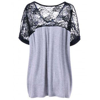Plus Size Lace Yoke V Neck T-shirt - BLACK/GREY BLACK/GREY