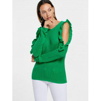 Frill Cold Shoulder Sweater - GREEN S