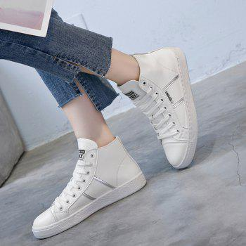 Faux Leather High Top Casual Shoes - WHITE WHITE