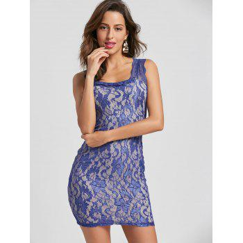 Women's Solid Color Embroidered Sleeveless Dress - PURPLE M