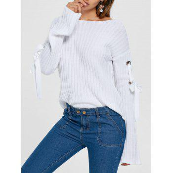 Ribbed Lace Up Drop Shoulder Sweater