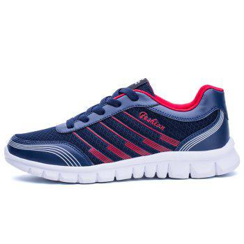 Color Block Letter Striped Sneakers - BLUE 42