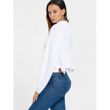 Batwing Sleeve Crop Sweater - WHITE XL