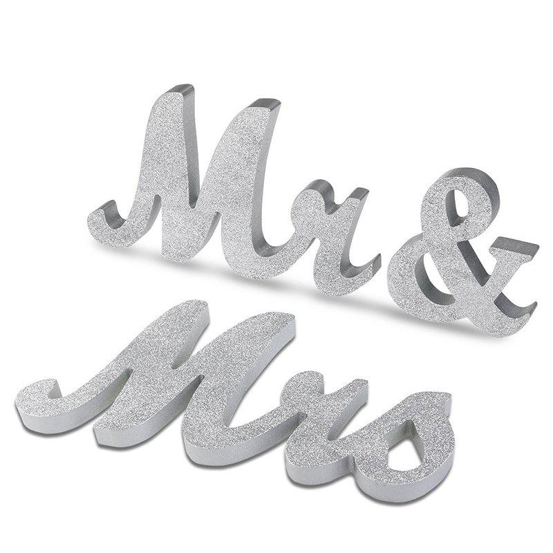 Wedding Decor Wooden Glitter Powder Mr And Mrs - SILVER
