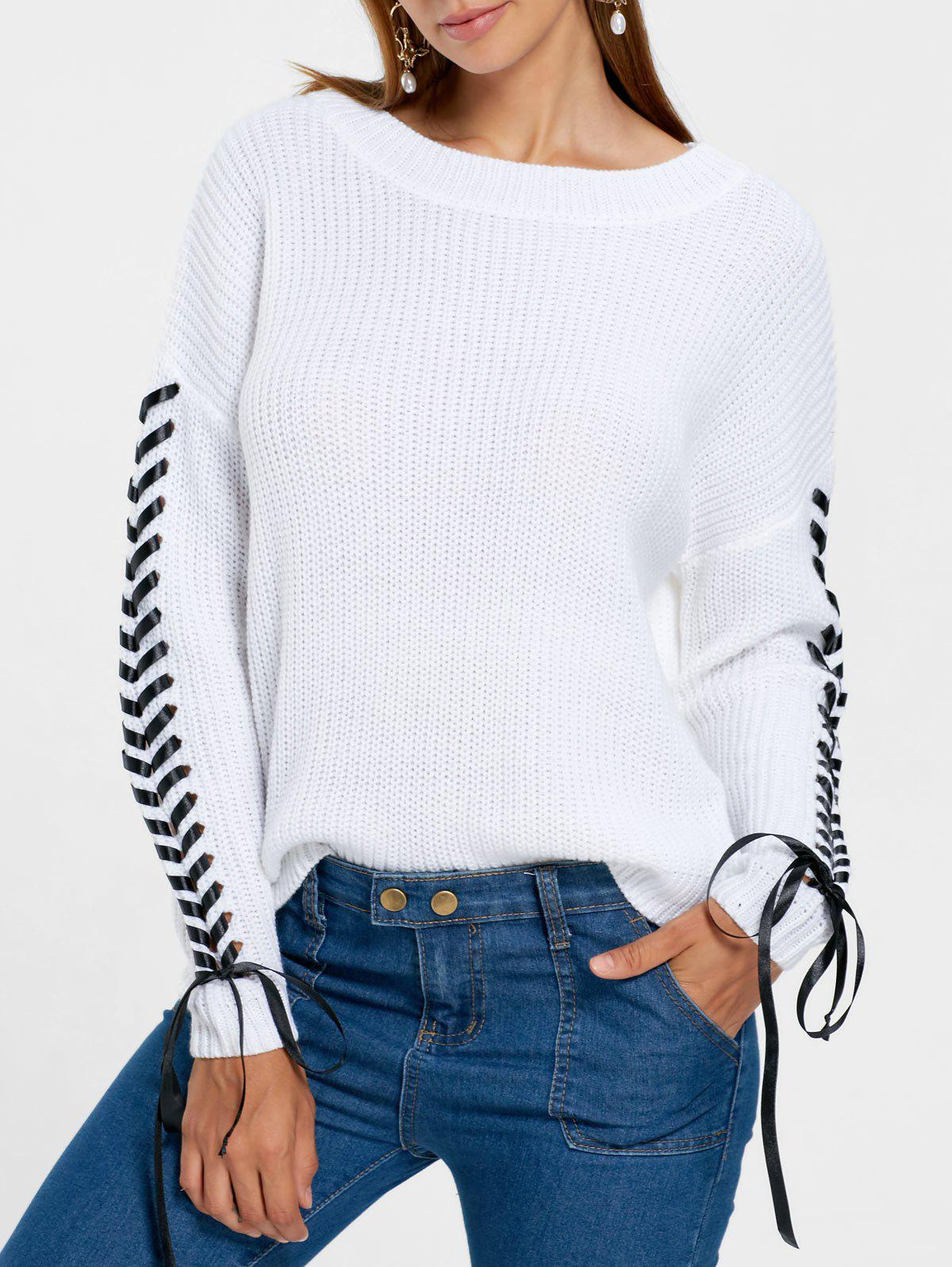 Drop Shoulder Lace Up Chunky Sweater lace contrast back drop shoulder shirt
