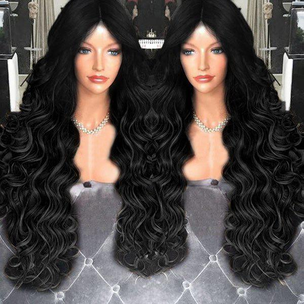 Middle Part Shaggy Long Wavy Synthetic Wig medium shoulder length middle part wavy synthetic wig