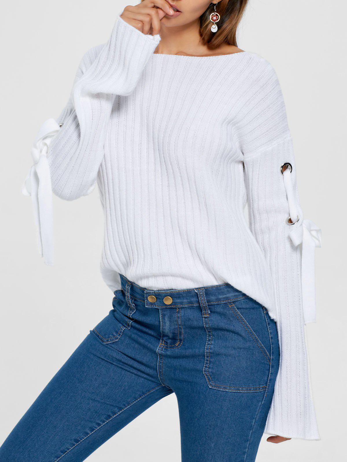 Ribbed Lace Up Drop Shoulder Sweater cartoon print drop shoulder sweater
