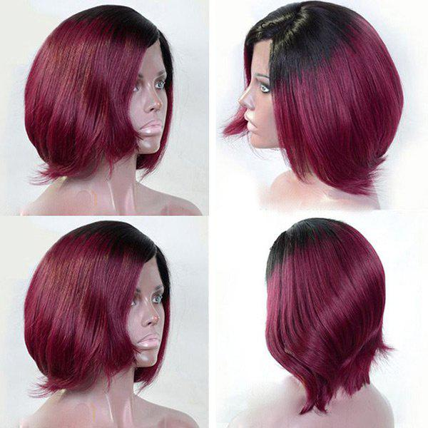 Side Bang Two Tone Short Straight Bob Colormix Perruque synthétique - Noir et Rouge