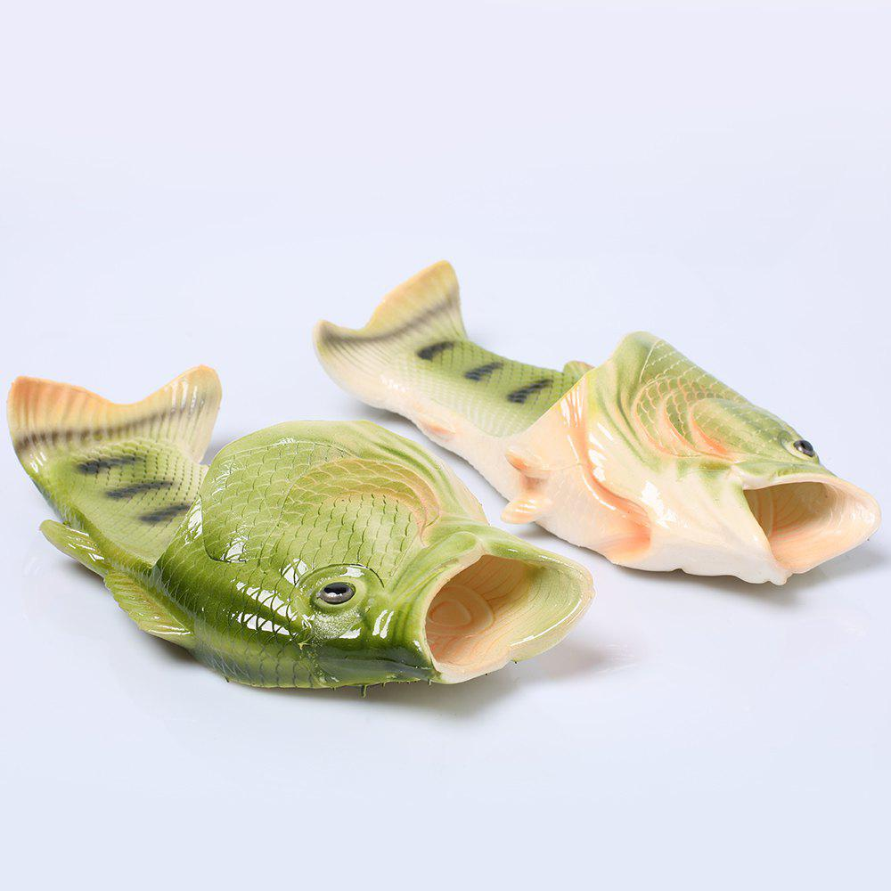Fish Shaped Plastic Slippers - GREEN SIZE(37-38)