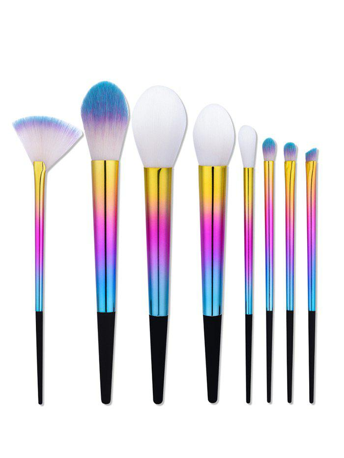 8 Pieces Colorful Ombre Makeup Brushes Set - COLORMIX