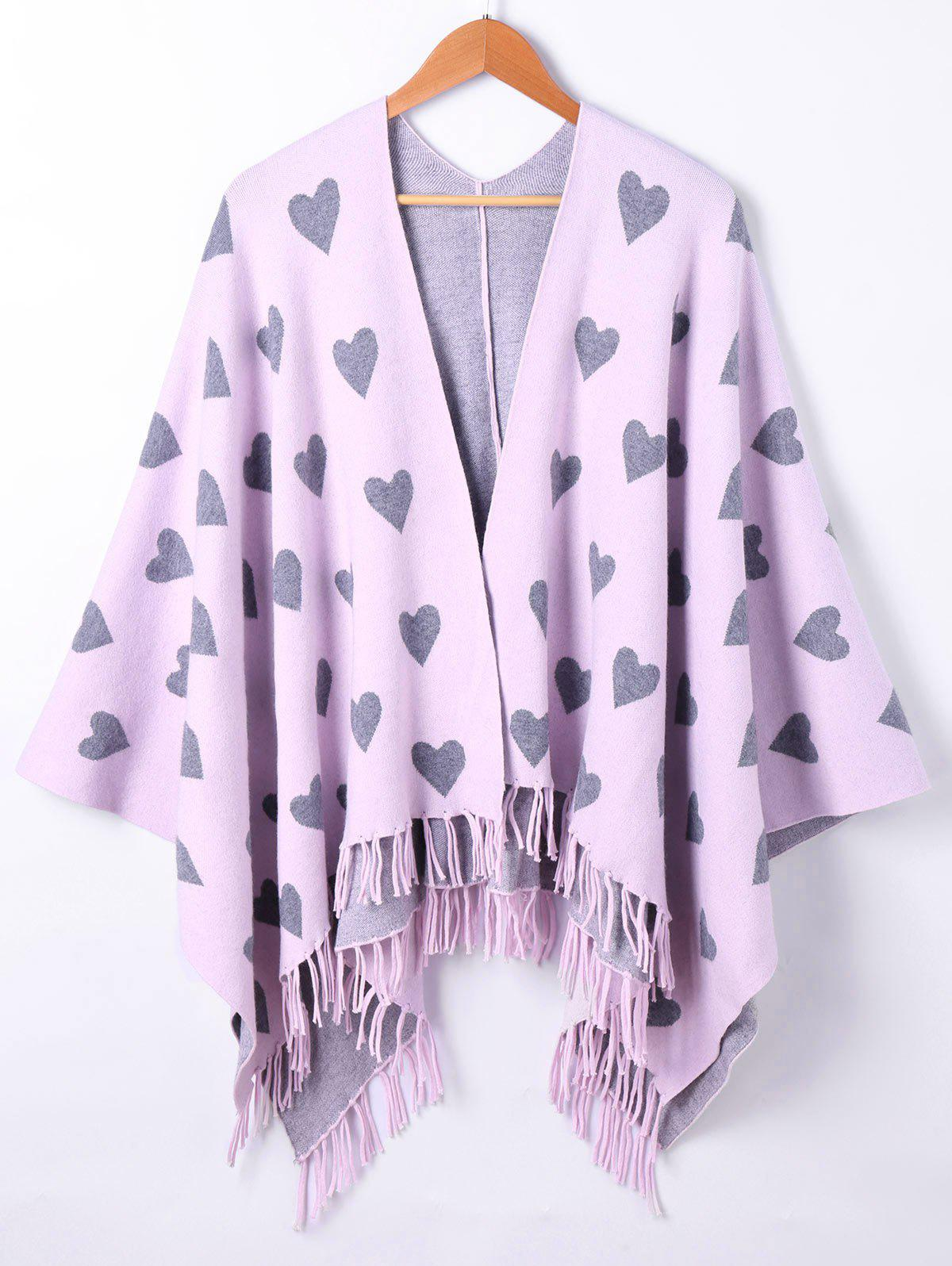 Cape à tricoter graphique Heart Fringe - Pourpre Rosé ONE SIZE