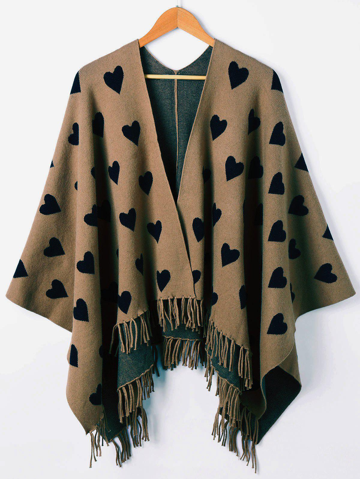 Heart Fringe Graphic Knit Cape - DARK KHAKI ONE SIZE