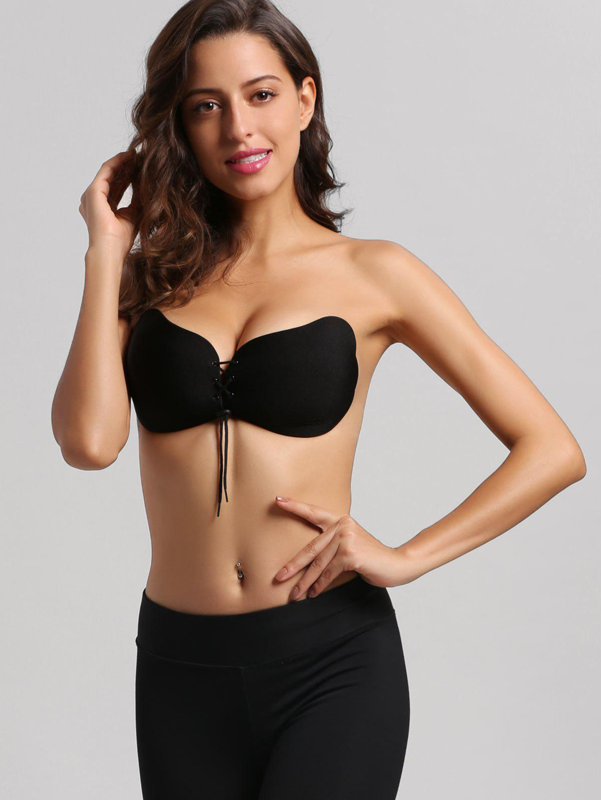 Butterfly Shaped Lace Up Self Adhesive Bra - BLACK 80C