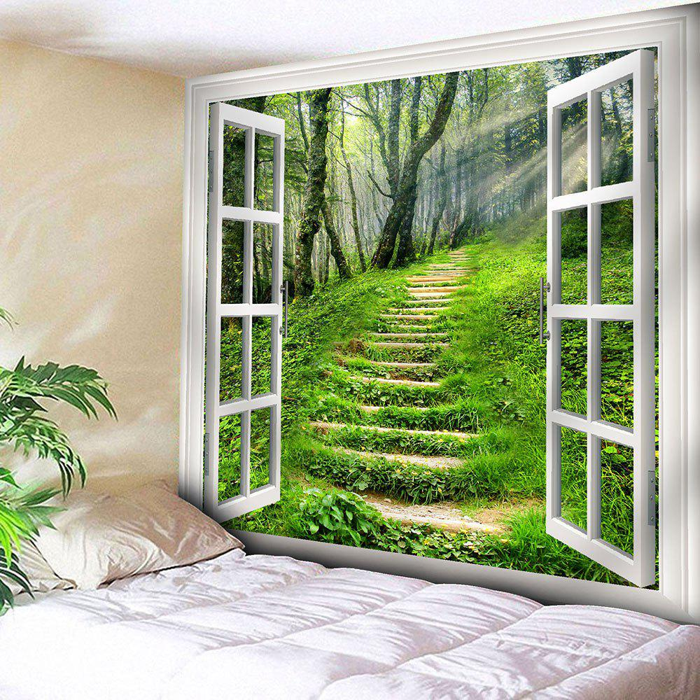 Window Forest Path Wall Hanging Tapestry wall hanging forest path pattern tapestry