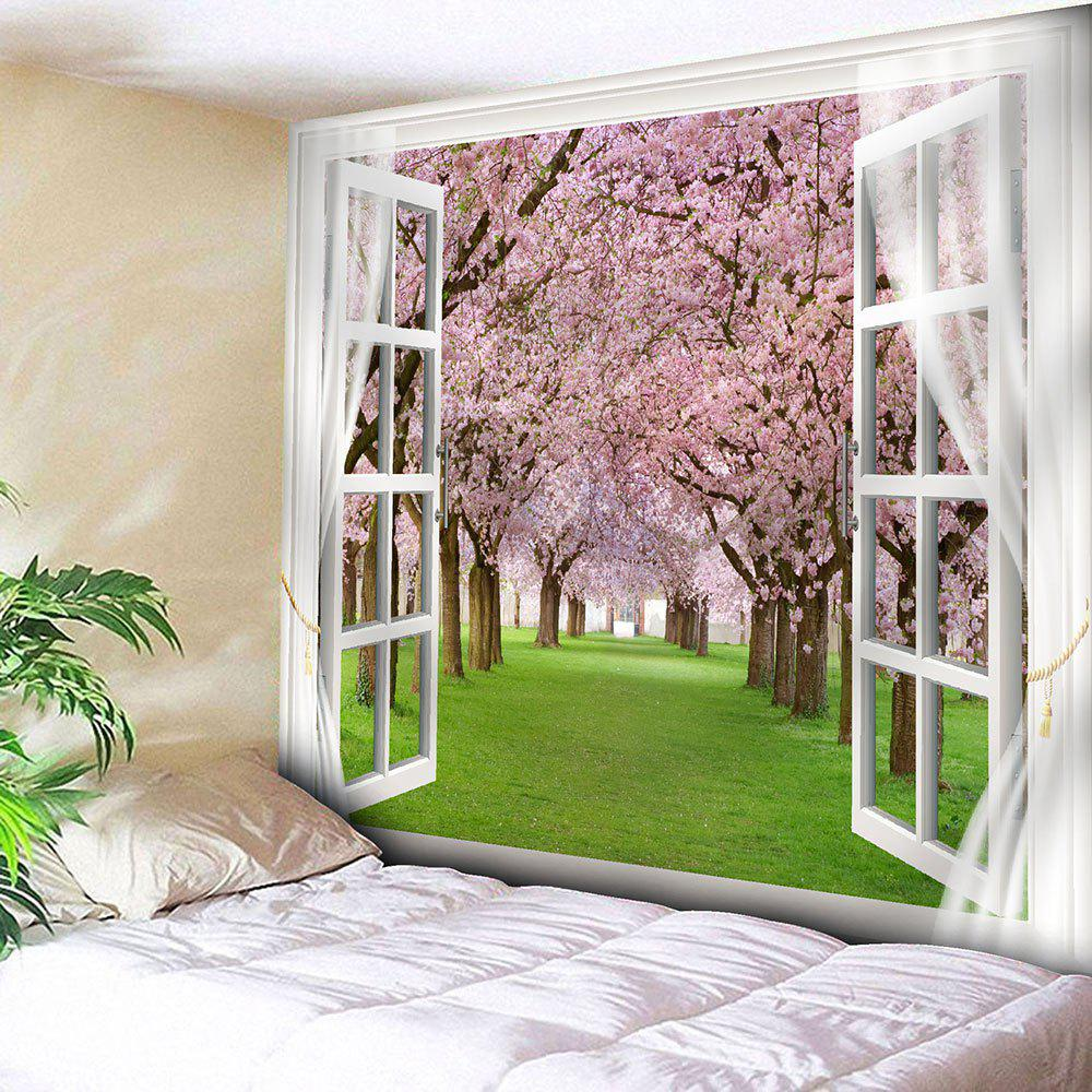 Window Peach Blossom Forest Print Wall Tapestry savannah bee company natural and organic peach blossom shimmer lip tint 0 09 ounce