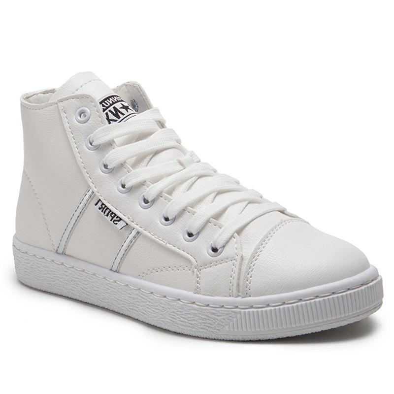 Faux Leather High Top Casual Shoes - WHITE 38