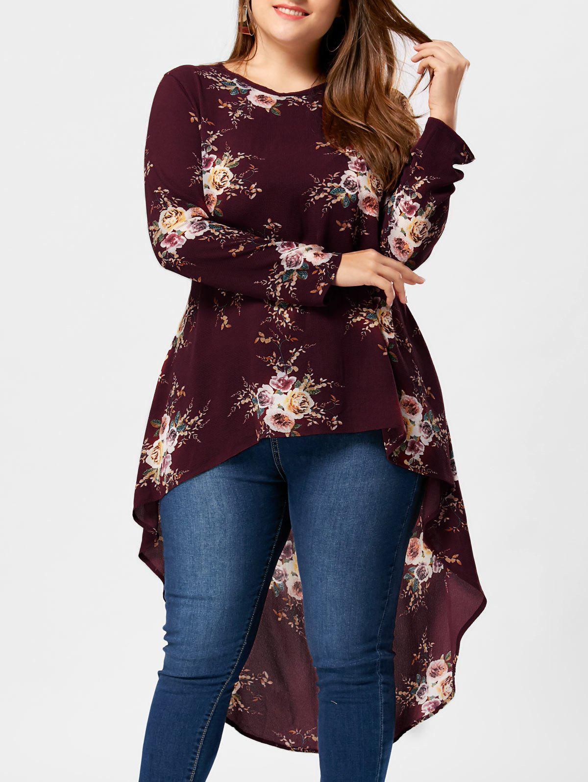 Plus Size Tiny Floral High Low Hem Blouse plus size high low floral embroidered dress