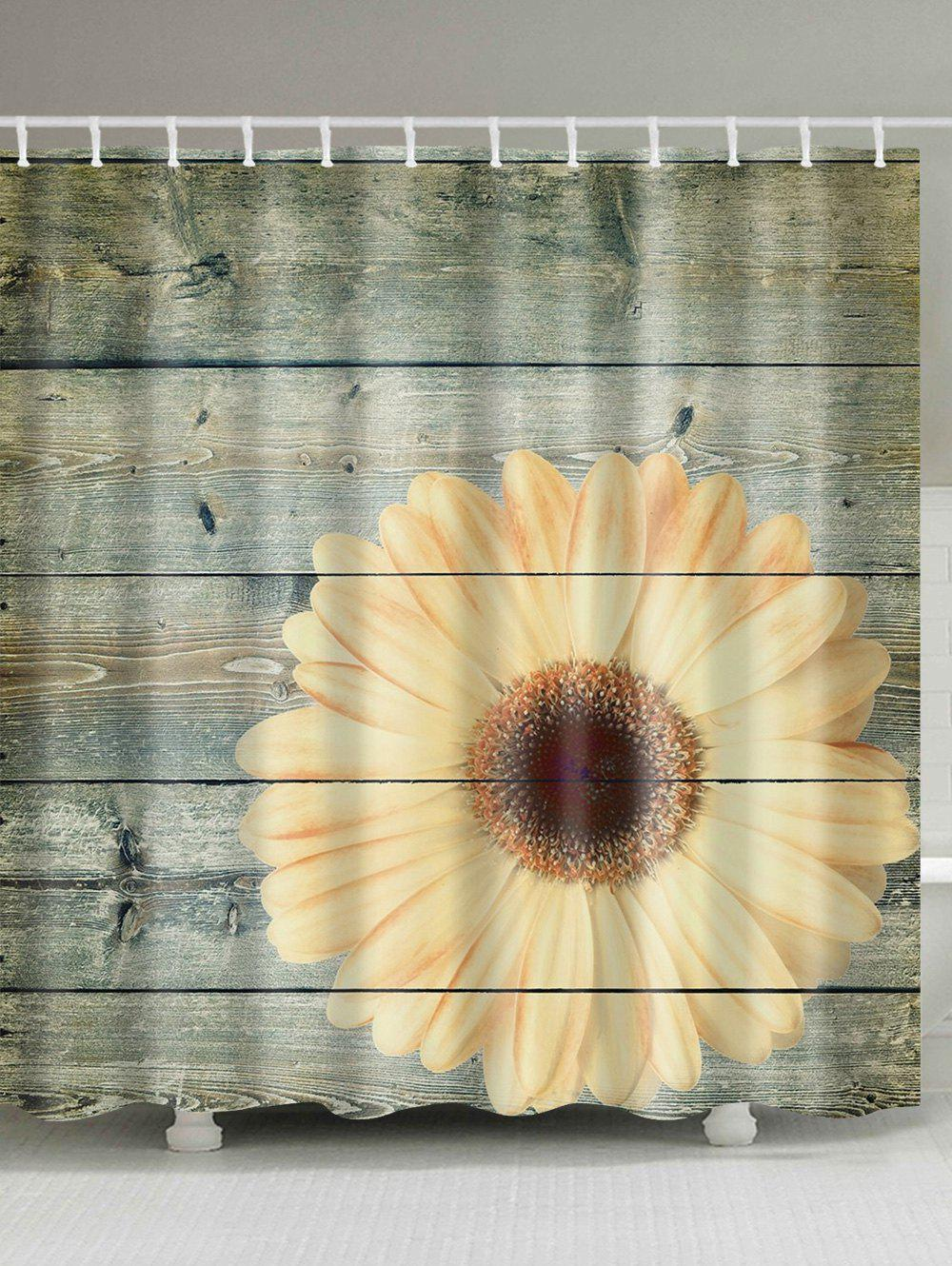 Beau Bathroom Decor Plank Sunflower Shower Curtain   WOOD W71 INCH * L71 INCH