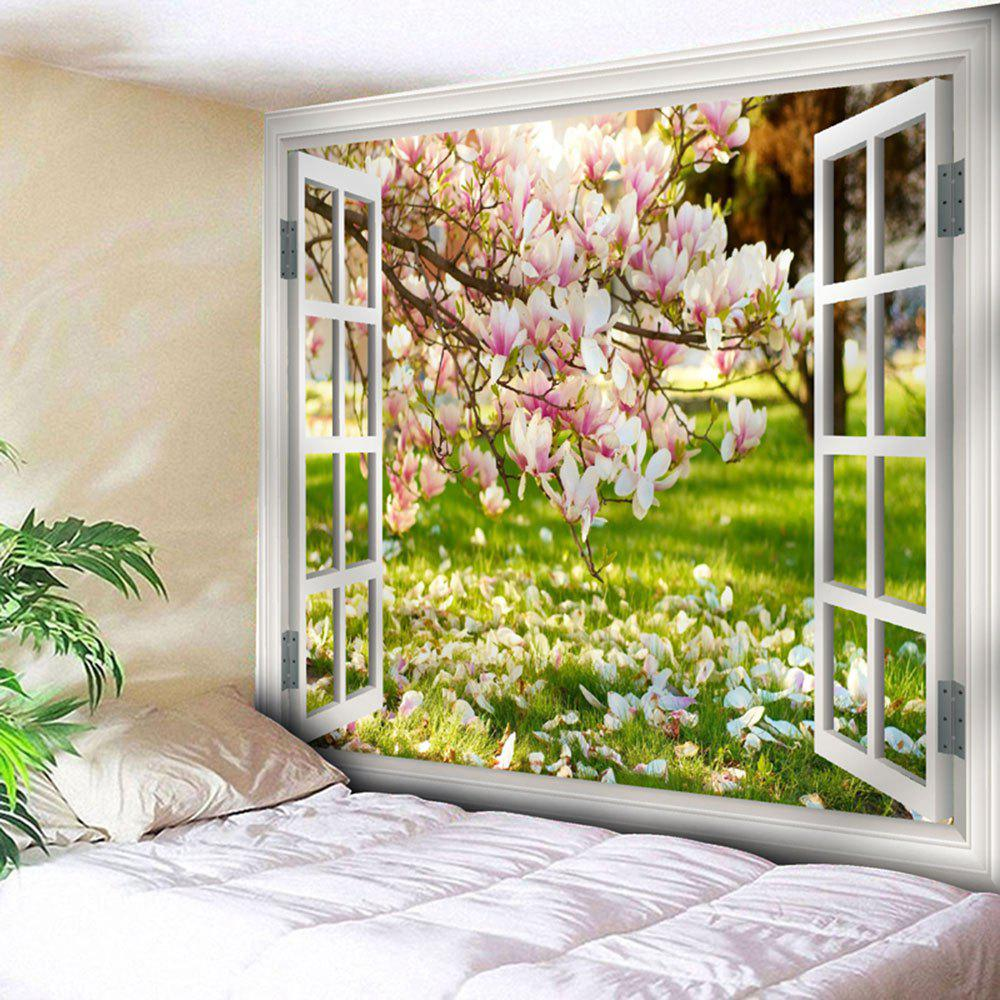 Window Flower Scenery Printed Wall Tapestry window scenery rice field printed wall tapestry
