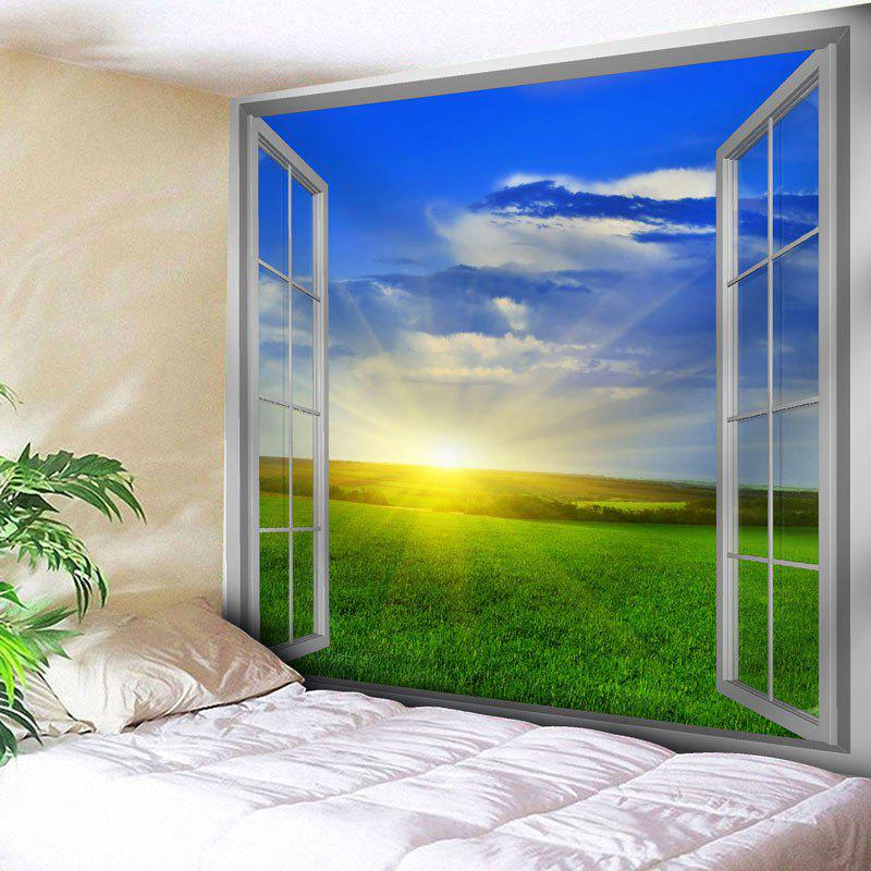 Window Grassland Scenery Wall Tapestry window scenery rice field printed wall tapestry