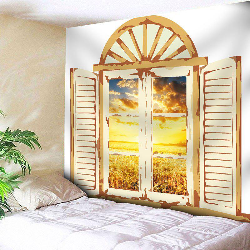 Window Scenery Rice Field Printed Wall Tapestry window scenery rice field printed wall tapestry