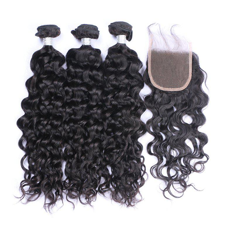 3Pcs/Lot Long Natural Wave 7A Remy Indian Human Hair Weaves - BLACK 18INCH*20INCH*22INCH