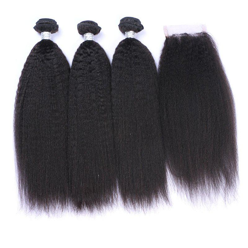 3Pcs/Lot 7A Remy Long Fluffy Kinky Straight Indian Human Hair Weaves - BLACK 14INCH*16INCH*16INCH