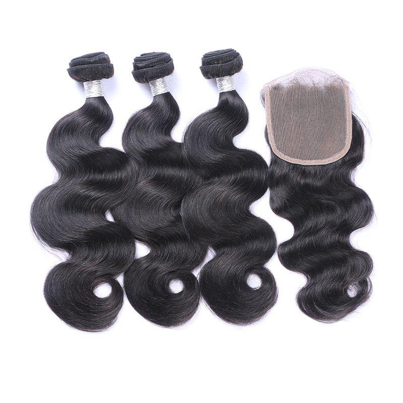 3Pcs/Lot 7A Remy Long Body Wave Indian Human Hair Wefts - BLACK 12INCH*14INCH*16INCH