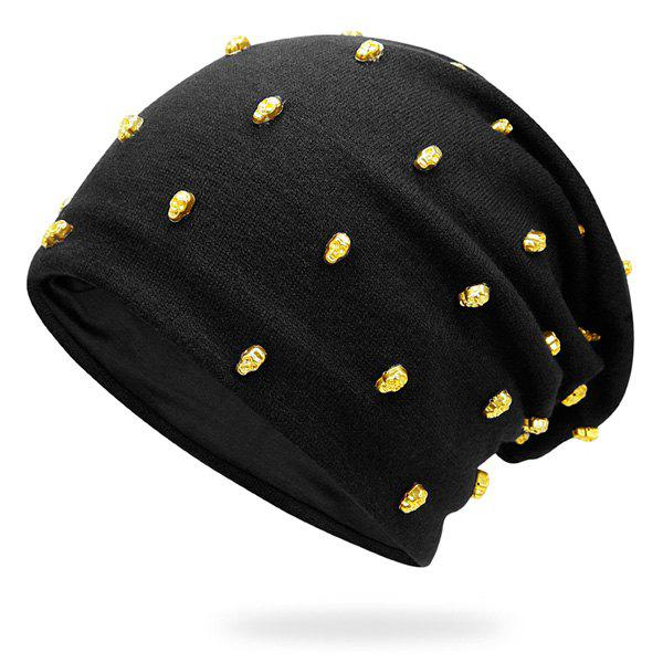 Tiny Skull Rivet Embellished Hip-Hop Beanie Hat tiny rivet embellished knitting beanie