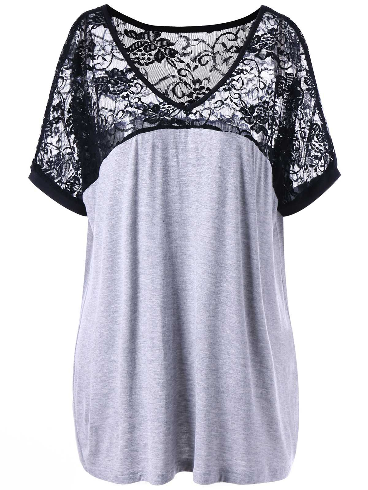 Plus Size Lace Yoke V Neck T-shirt - BLACK/GREY 3XL
