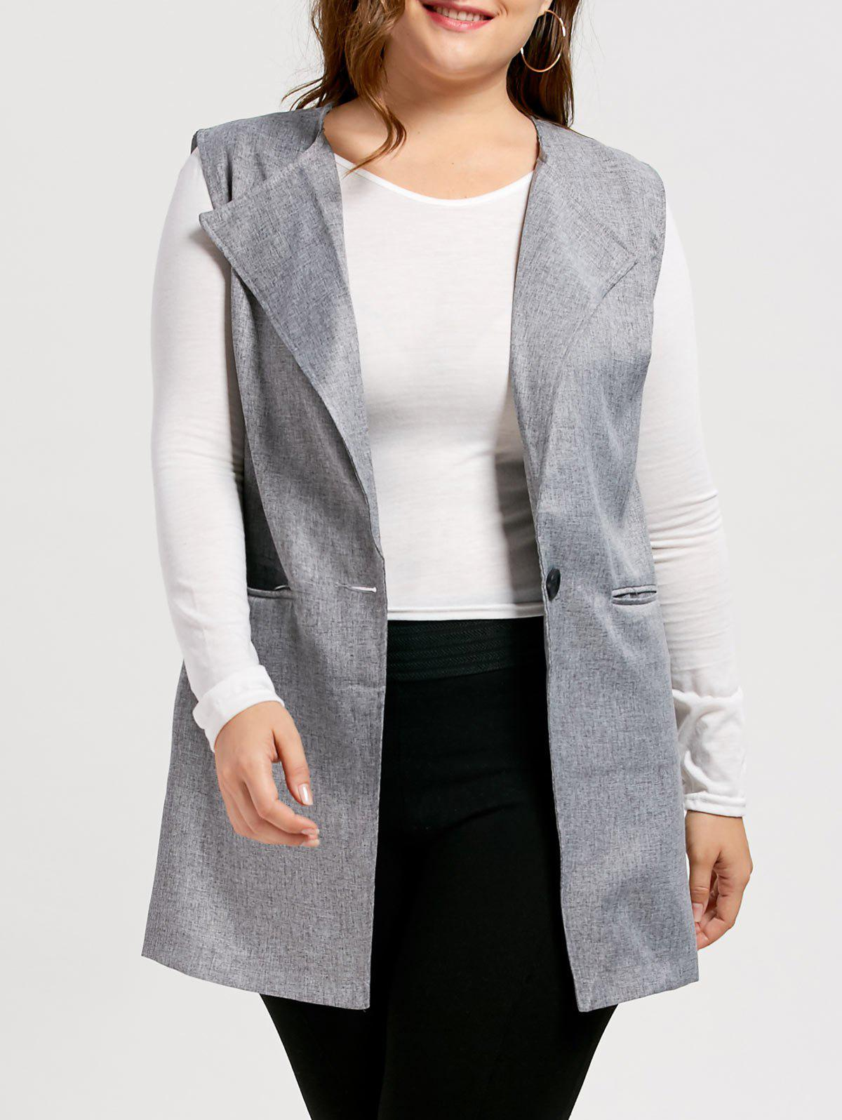 Plus Size One Button Sleeveless Trench Coat the one plus one