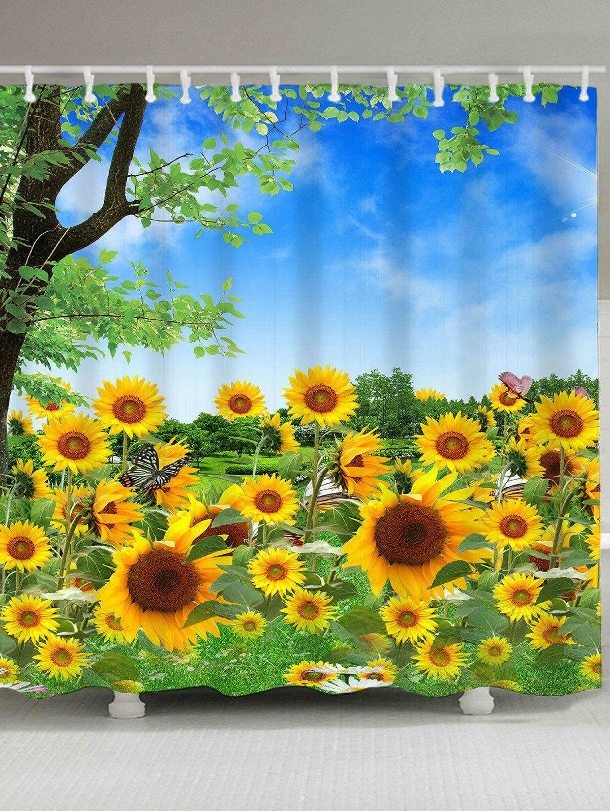 Waterproof Trees and Sunflowers Pattern Shower Curtain bamboo trees waterproof shower curtain