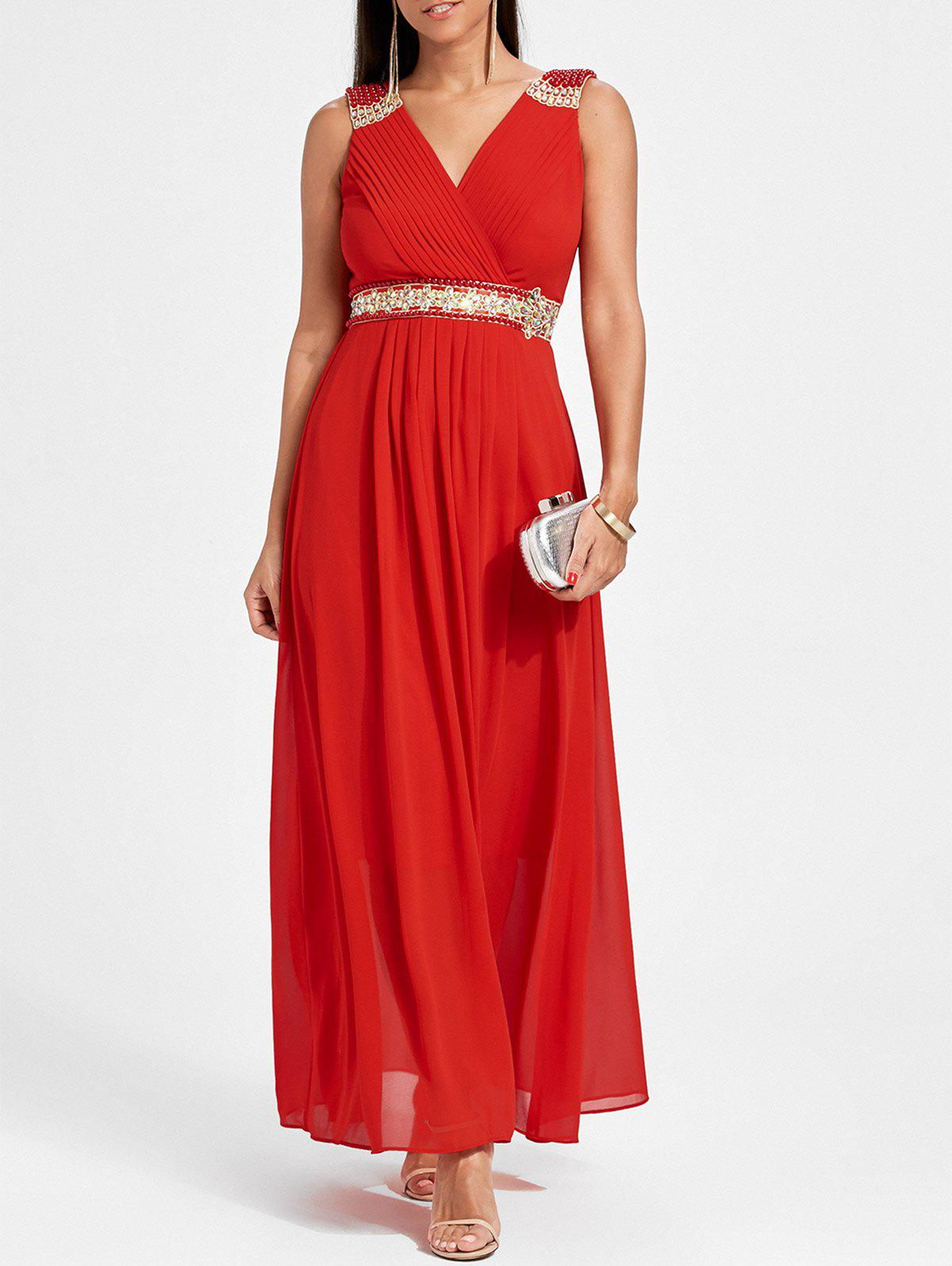 Ruched Rhinestone Maxi Party Dress - [