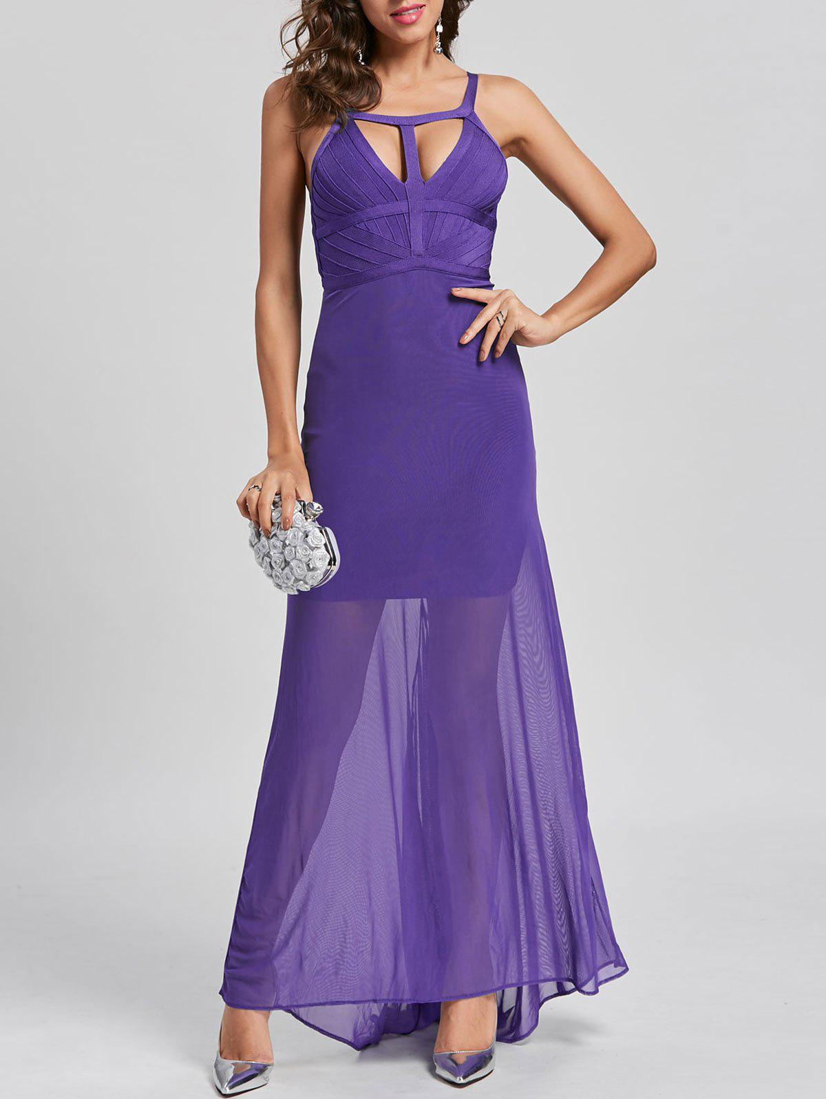 Cut Out Sheer Maxi Bandage Dress - PURPLE M