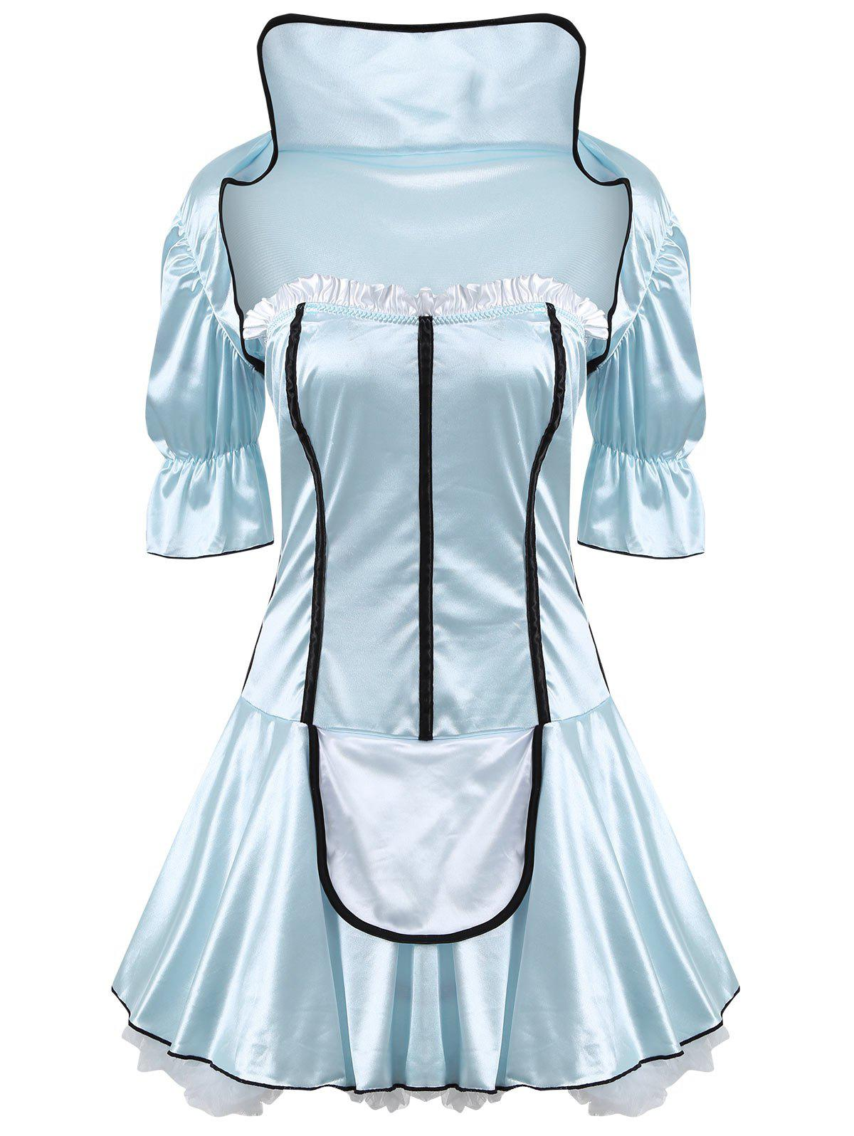 Housemaid Satin Cosplay Costume Dress - WINDSOR BLUE ONE SIZE