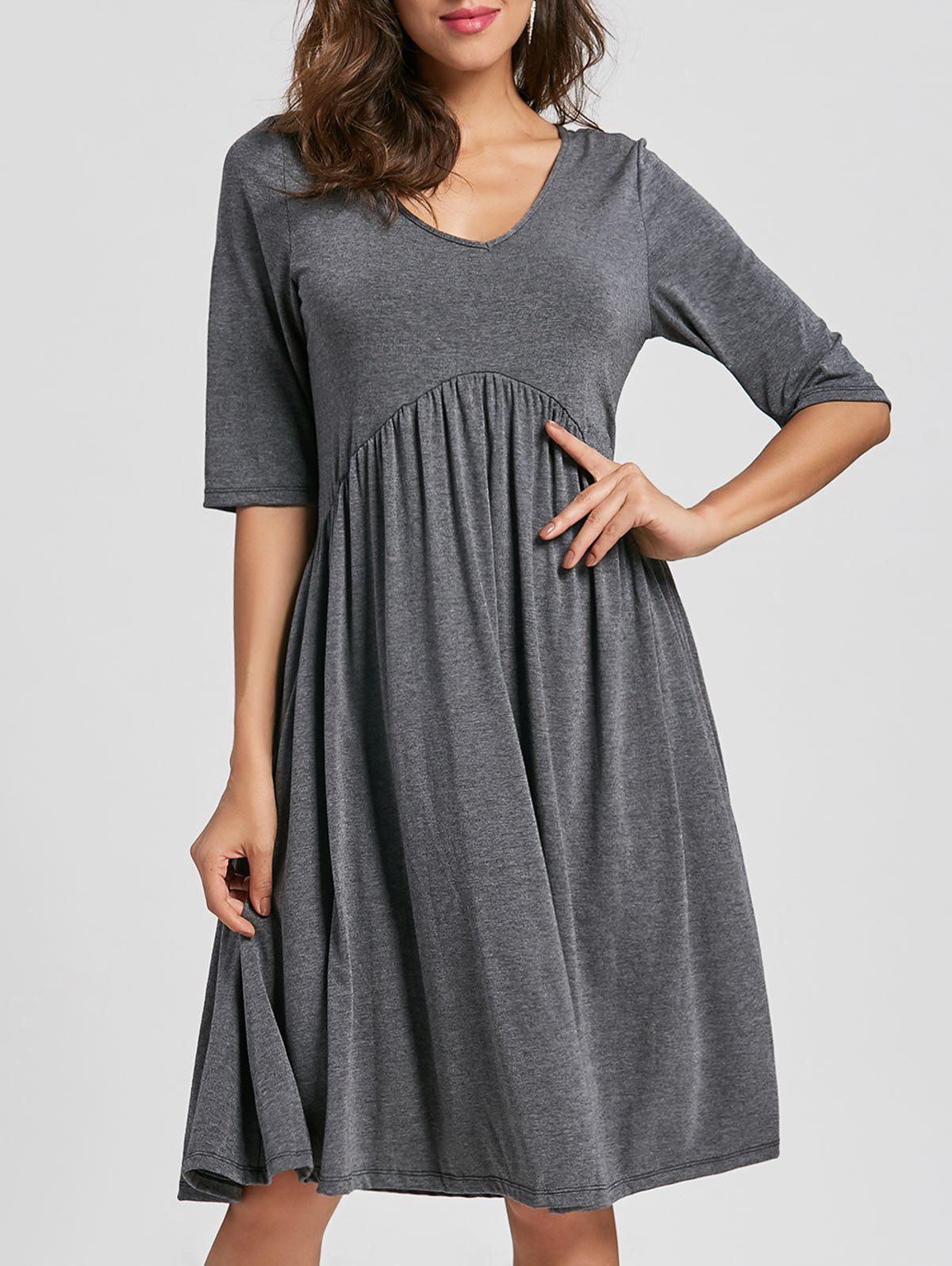Casual Half Sleeve Swing Dress - GRAY XL