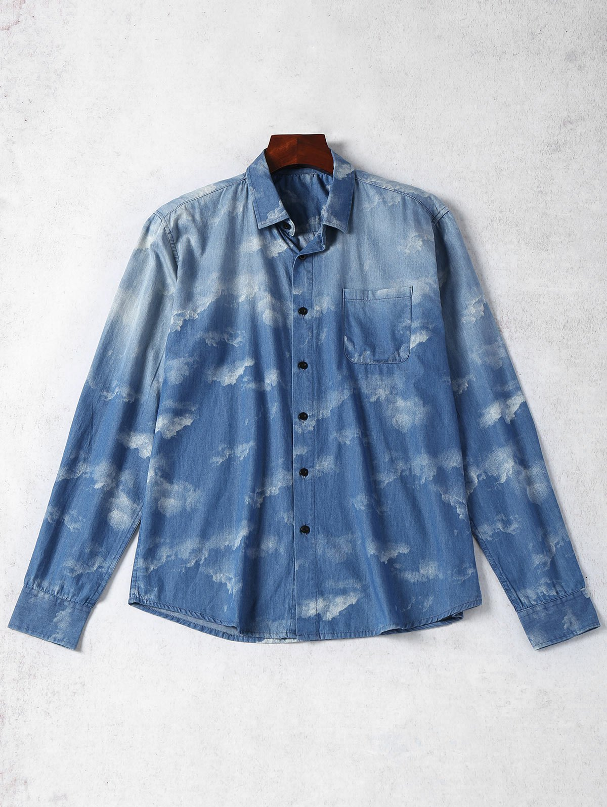 Tie Dyed Single Breasted Denim Shirt - BLUE S