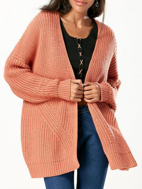 e4511c303e9 41% OFF  2019 Open Front Chunky Sweater Cardigan In ORANGE RED ...