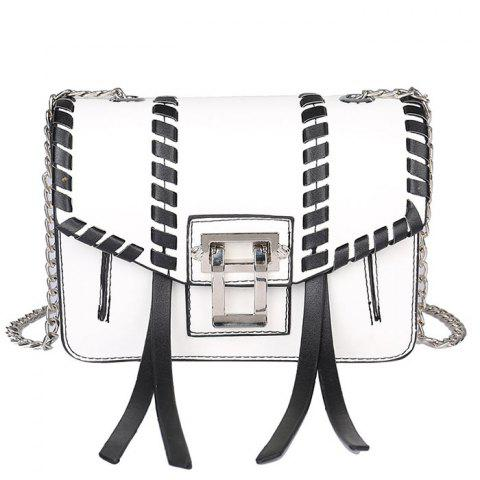 Color Block Whipstitch Crossbody Bag - WHITE