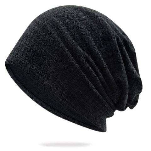 Pinstriped Cotton Yarn Blended Beanie - BLACK
